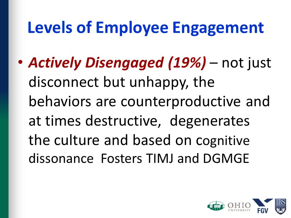 Levels of Employee Engagement Actively Disengaged (19%) – not just disconnect but unhappy, the behaviors are counterproductive and at times destructive, degenerates the culture and based on c ognitive dissonance Fosters TIMJ and DGMGE