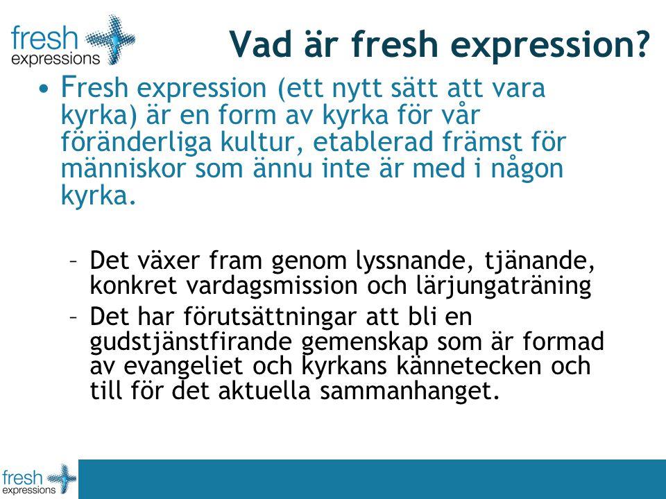 Vad är fresh expression? F resh expression (ett nytt sätt att vara kyrka) är en form av kyrka för vår föränderliga kultur, etablerad främst för männis