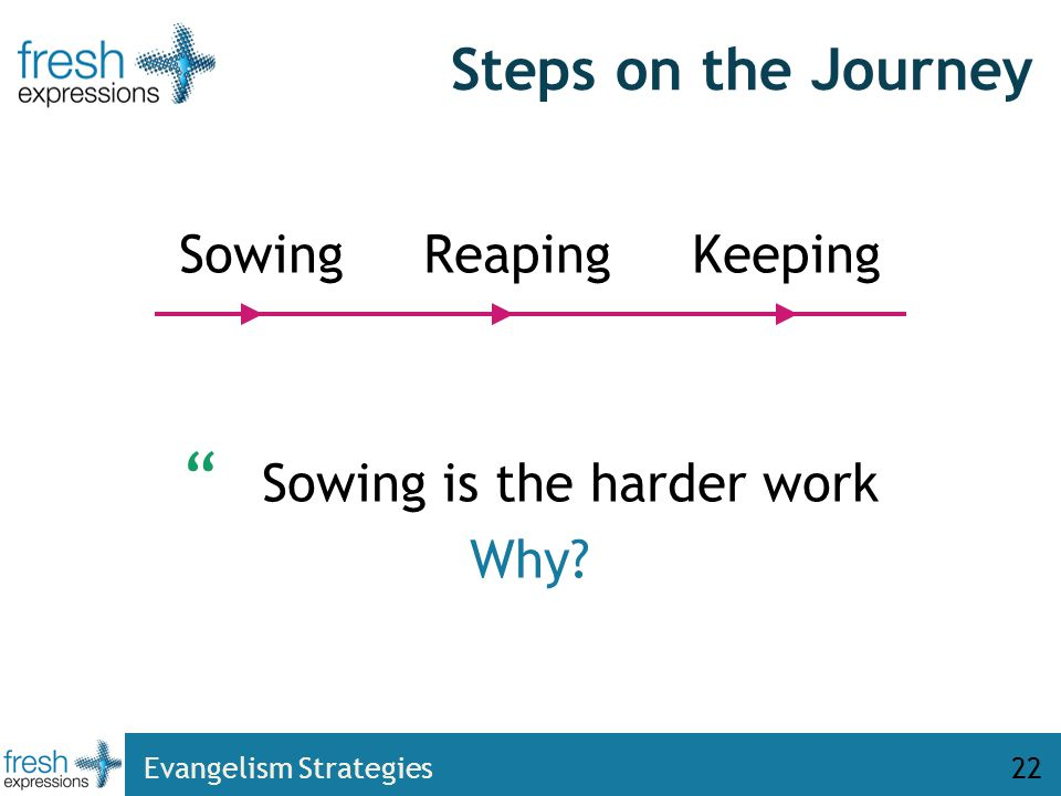 22 Steps on the Journey Sowing Reaping Keeping Sowing is the harder work Why