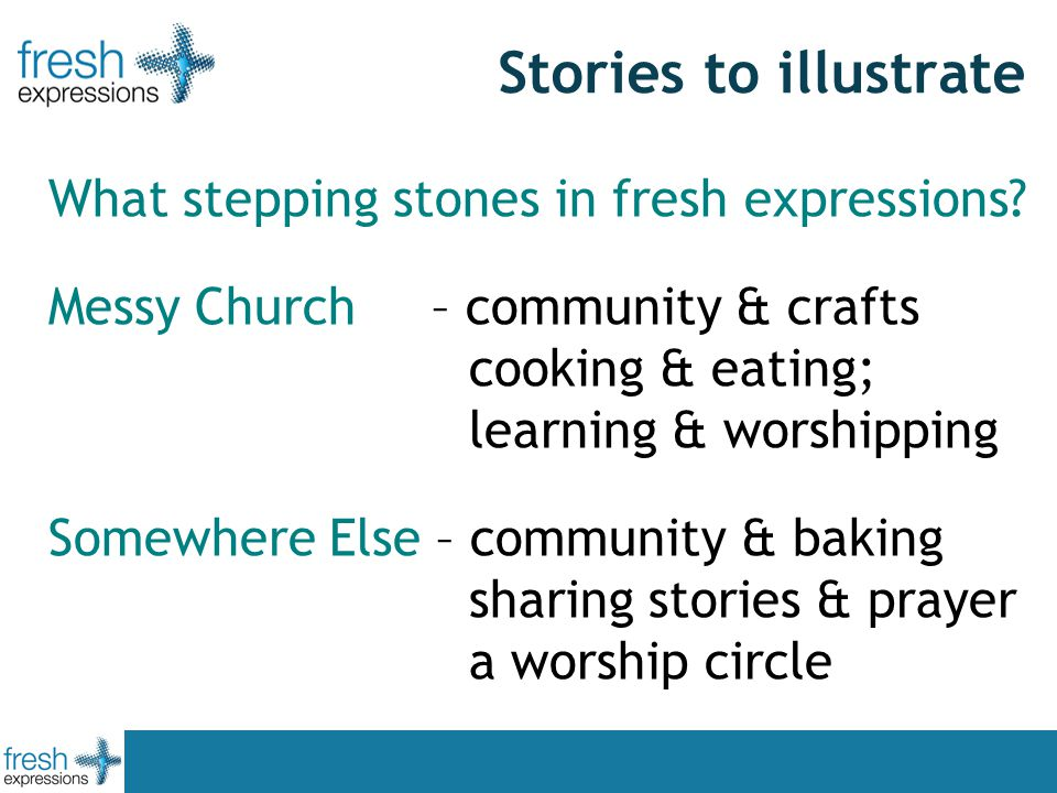 Stories to illustrate What stepping stones in fresh expressions.
