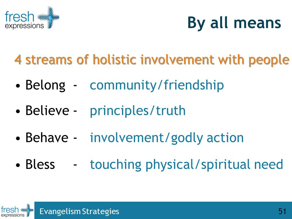 51 4 streams of holistic involvement with people Belong- community/friendship Believe- principles/truth Behave- involvement/godly action Bless- touching physical/spiritual need By all means Evangelism Strategies