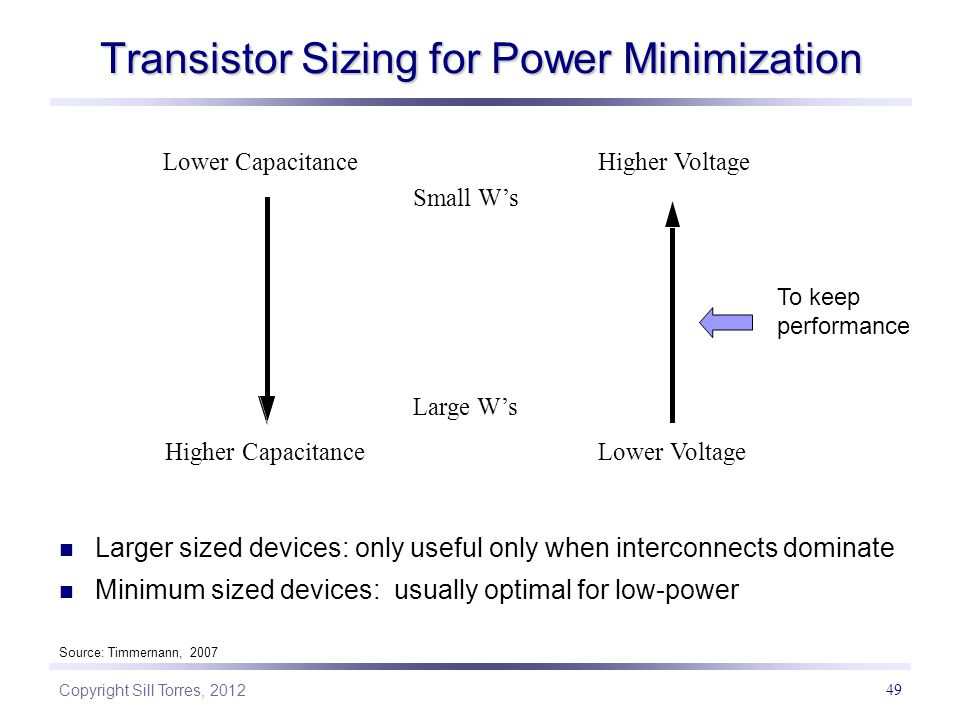 Copyright Sill Torres, 2012 49 Transistor Sizing for Power Minimization Larger sized devices: only useful only when interconnects dominate Minimum sized devices: usually optimal for low-power Small W's Large W's Higher Voltage Lower Voltage Lower Capacitance Higher Capacitance Source: Timmernann, 2007 To keep performance