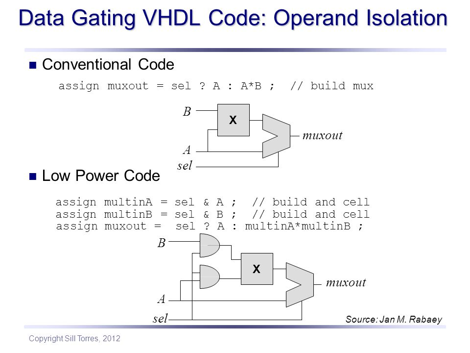 Copyright Sill Torres, 2012 Data Gating VHDL Code: Operand Isolation Conventional Code assign muxout = sel .