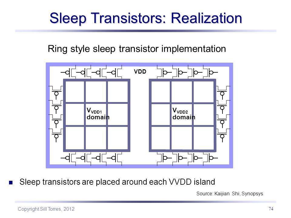 Copyright Sill Torres, 2012 74 Sleep Transistors: Realization VDD Global VDD V VDD1 domain Ring style sleep transistor implementation Sleep transistor