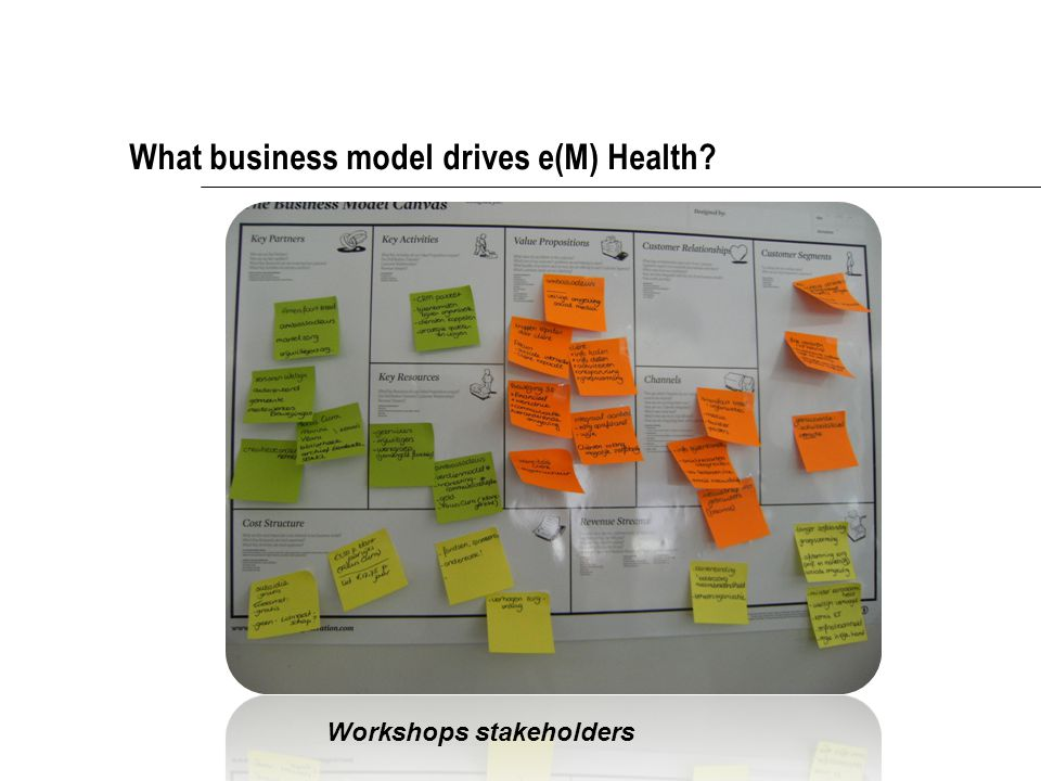 What business model drives e(M) Health Workshops stakeholders