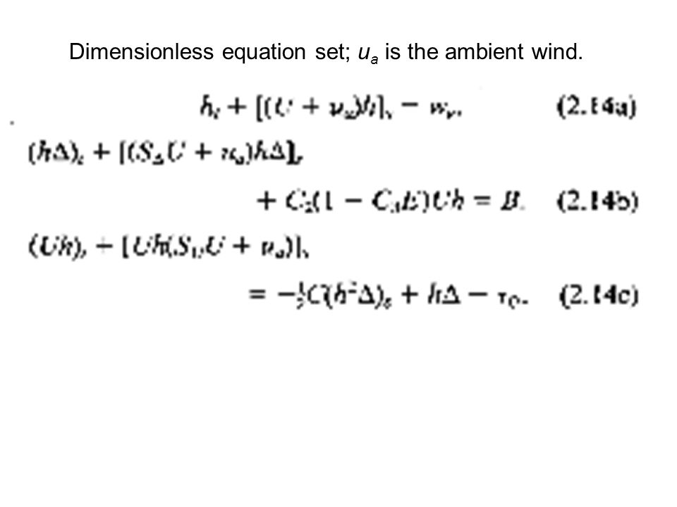 Dimensionless equation set; u a is the ambient wind.