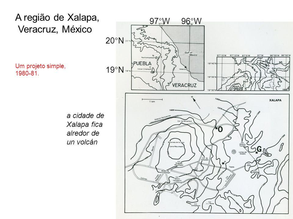 A região de Xalapa, Veracruz, México 20°N 19°N 96°W97°W a cidade de Xalapa fica alredor de un volcán Um projeto simple, 1980-81.