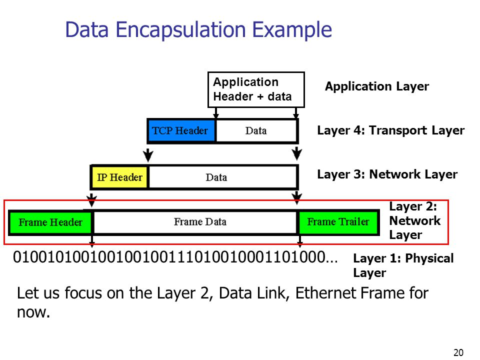 20 Application Header + data Data Encapsulation Example Let us focus on the Layer 2, Data Link, Ethernet Frame for now.