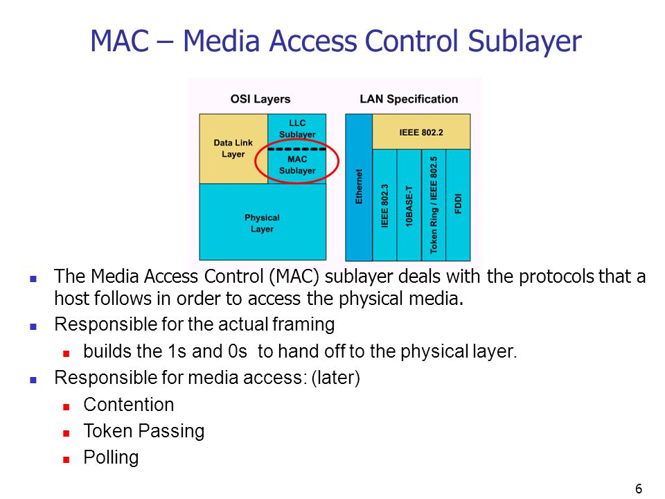 6 MAC – Media Access Control Sublayer The Media Access Control (MAC) sublayer deals with the protocols that a host follows in order to access the physical media.