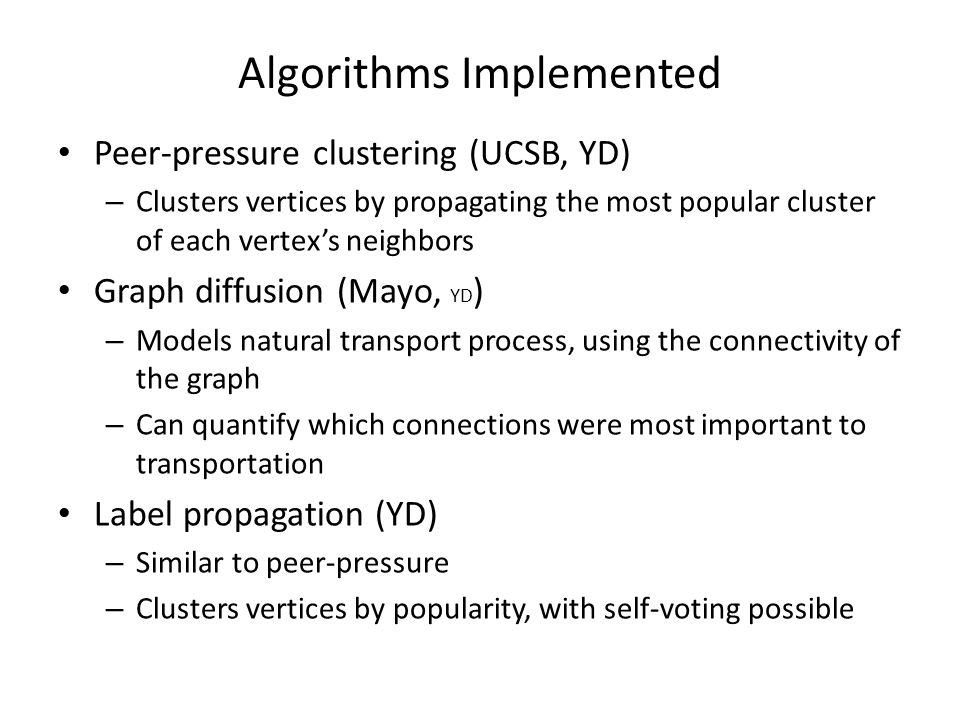 Algorithms Implemented Peer-pressure clustering (UCSB, YD) – Clusters vertices by propagating the most popular cluster of each vertex's neighbors Grap