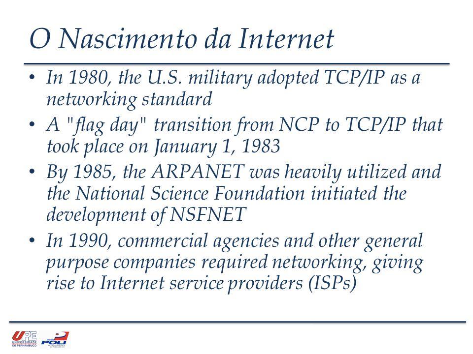 O Nascimento da Internet The INWG managed the development of Internet and TCP/IP related protocols.