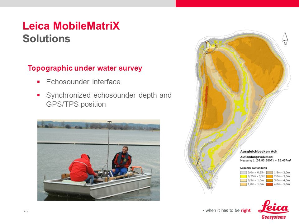 41 Leica MobileMatriX Solutions Topographic under water survey  Echosounder interface  Synchronized echosounder depth and GPS/TPS position