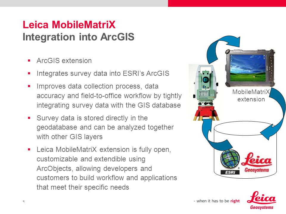 9 Leica MobileMatriX Integration into ArcGIS  ArcGIS extension  Integrates survey data into ESRI's ArcGIS  Improves data collection process, data accuracy and field-to-office workflow by tightly integrating survey data with the GIS database  Survey data is stored directly in the geodatabase and can be analyzed together with other GIS layers  Leica MobileMatriX extension is fully open, customizable and extendible using ArcObjects, allowing developers and customers to build workflow and applications that meet their specific needs MobileMatriX extension