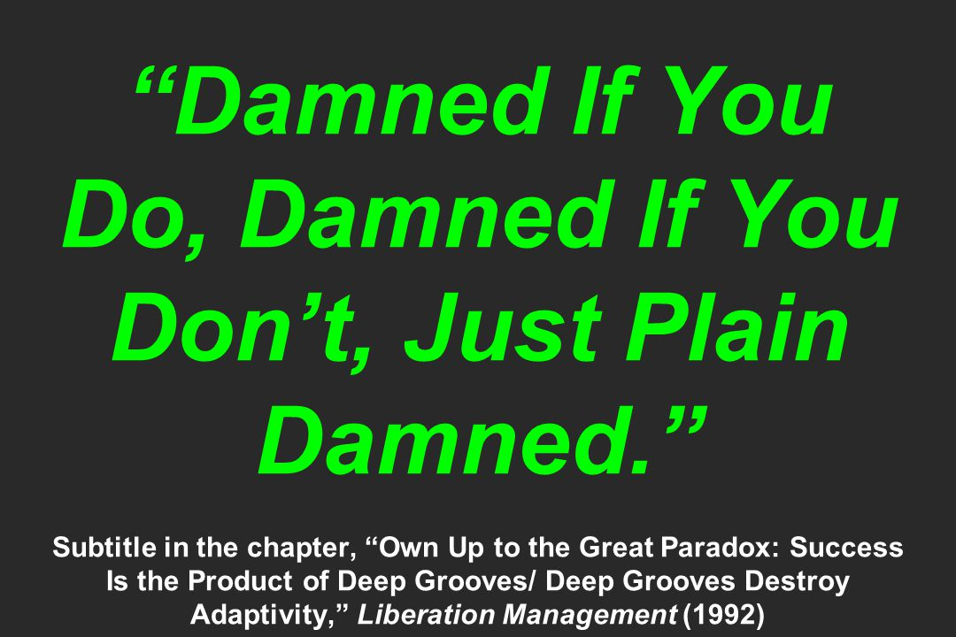 """""""Damned If You Do, Damned If You Don't, Just Plain Damned."""" Subtitle in the chapter, """"Own Up to the Great Paradox: Success Is the Product of Deep Groo"""