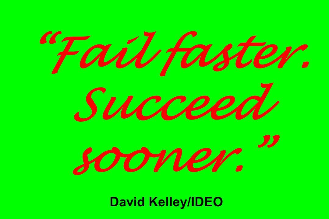 """Fail faster. Succeed sooner."" David Kelley/IDEO"