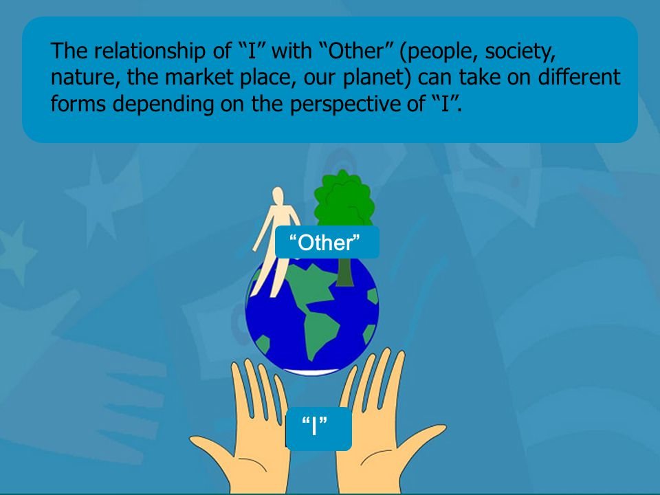 NÚCLEO Pensamento & Ação Coaching and Conviviality The relationship of I with Other (people, society, nature, the market place, our planet) can take on different forms depending on the perspective of I .