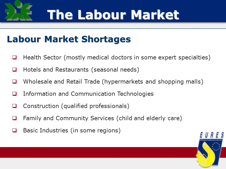 The Labour Market Labour Market Shortages   Health Sector (mostly medical doctors in some expert specialties)   Hotels and Restaurants (seasonal needs)   Wholesale and Retail Trade (hypermarkets and shopping malls)   Information and Communication Technologies   Construction (qualified professionals)   Family and Community Services (child and elderly care)   Basic Industries (in some regions)