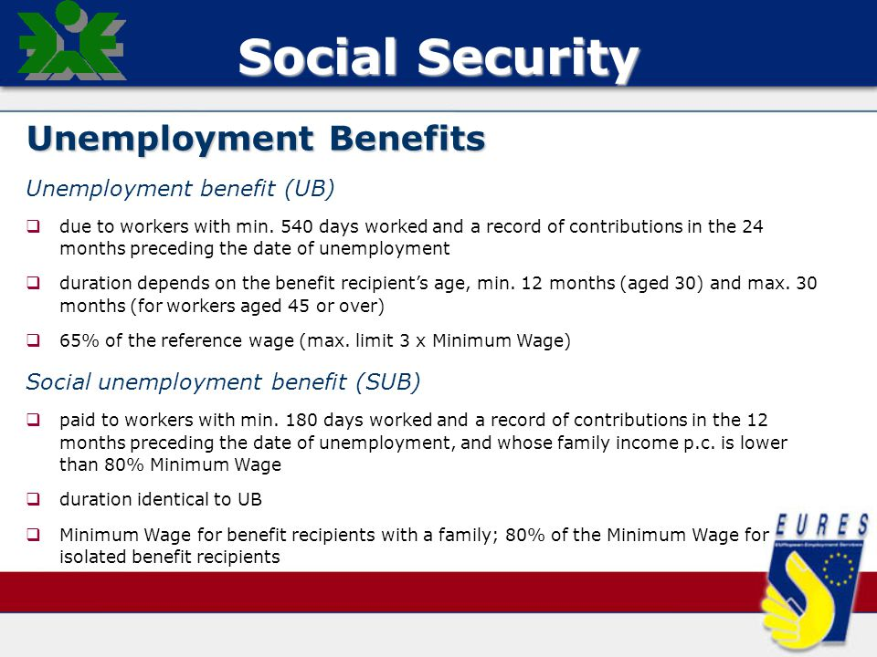 Social Security Unemployment Benefits Unemployment benefit (UB)   due to workers with min.