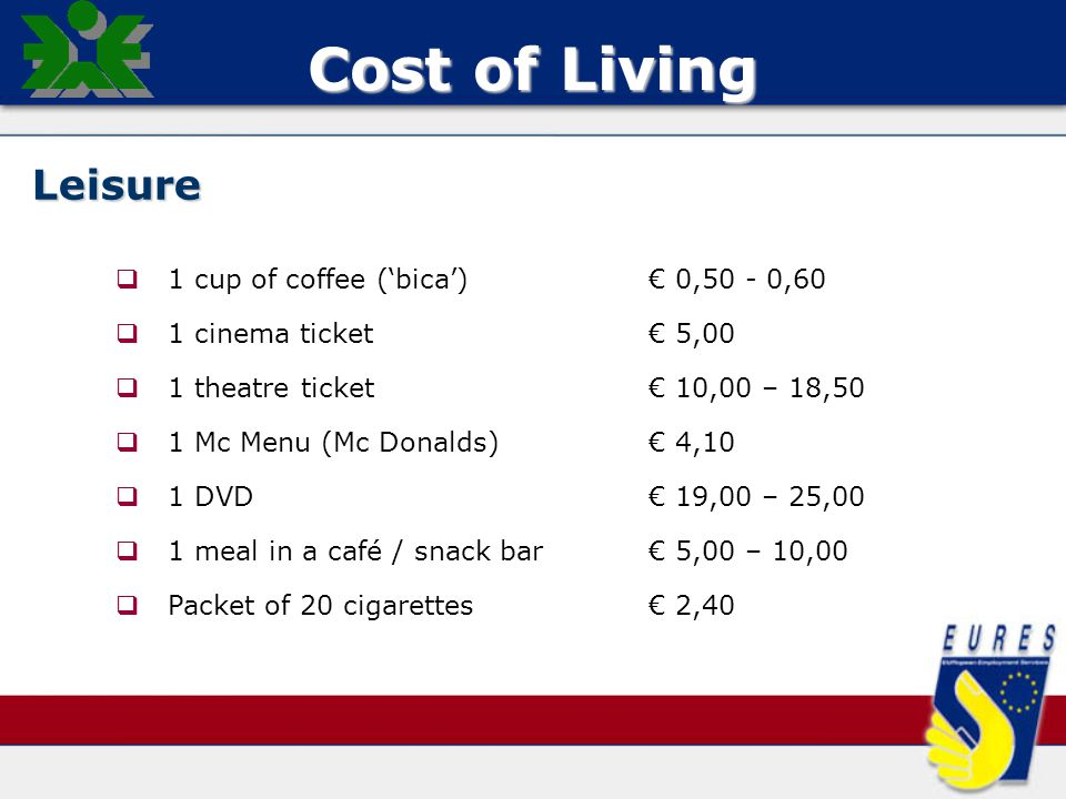 Cost of Living Leisure   1 cup of coffee ('bica')€ 0,50 - 0,60   1 cinema ticket€ 5,00   1 theatre ticket€ 10,00 – 18,50   1 Mc Menu (Mc Donalds)€ 4,10   1 DVD€ 19,00 – 25,00   1 meal in a café / snack bar€ 5,00 – 10,00   Packet of 20 cigarettes€ 2,40