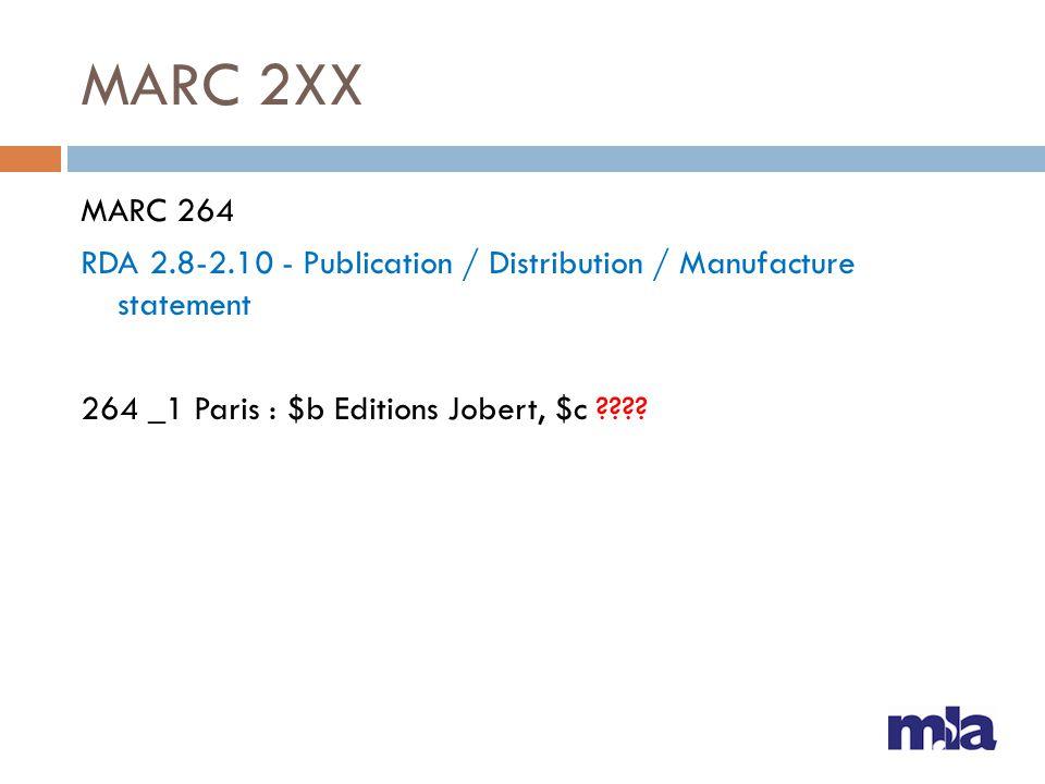 MARC 2XX MARC 264 RDA 2.8-2.10 - Publication / Distribution / Manufacture statement 264 _1 Paris : $b Editions Jobert, $c ????