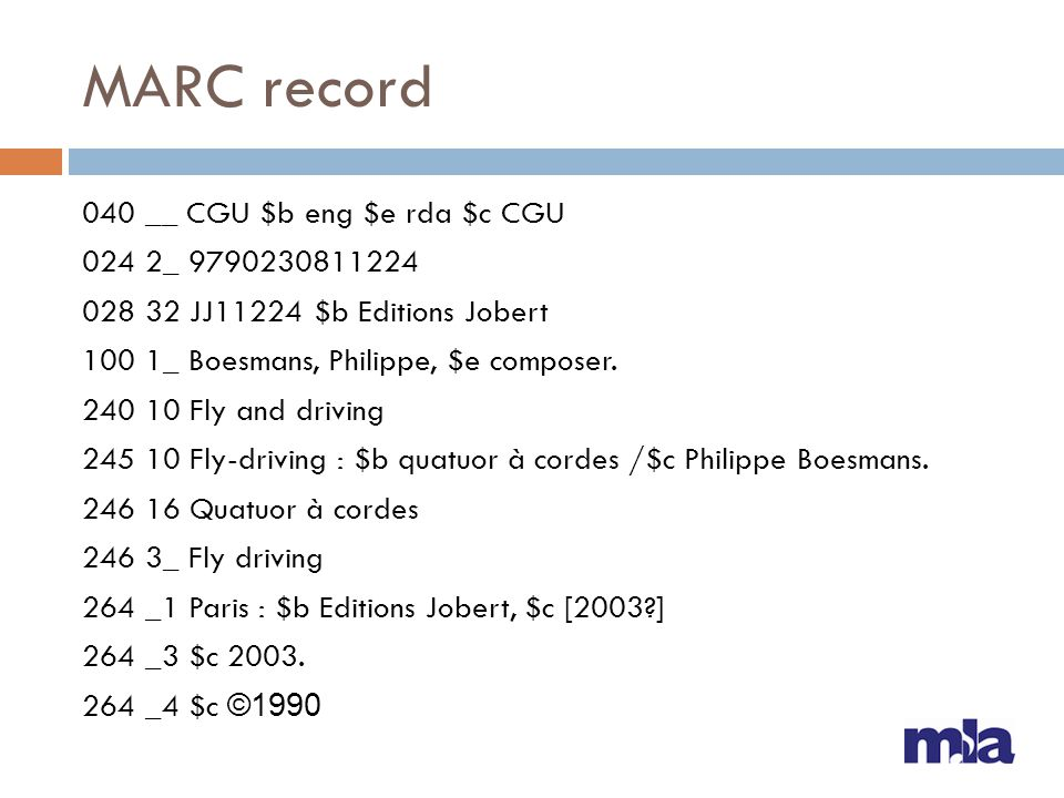 MARC record 040 __ CGU $b eng $e rda $c CGU 024 2_ 9790230811224 028 32 JJ11224 $b Editions Jobert 100 1_ Boesmans, Philippe, $e composer. 240 10 Fly