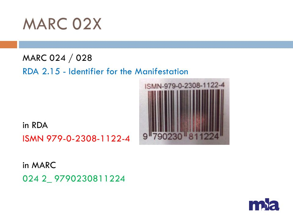 MARC 02X MARC 024 / 028 RDA 2.15 - Identifier for the Manifestation in RDA ISMN 979-0-2308-1122-4 in MARC 024 2_ 9790230811224