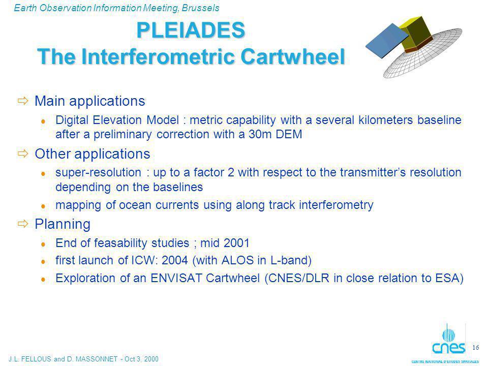 J.L. FELLOUS and D. MASSONNET - Oct 3, 2000 Earth Observation Information Meeting, Brussels 16 PLEIADES The Interferometric Cartwheel  Main applicati
