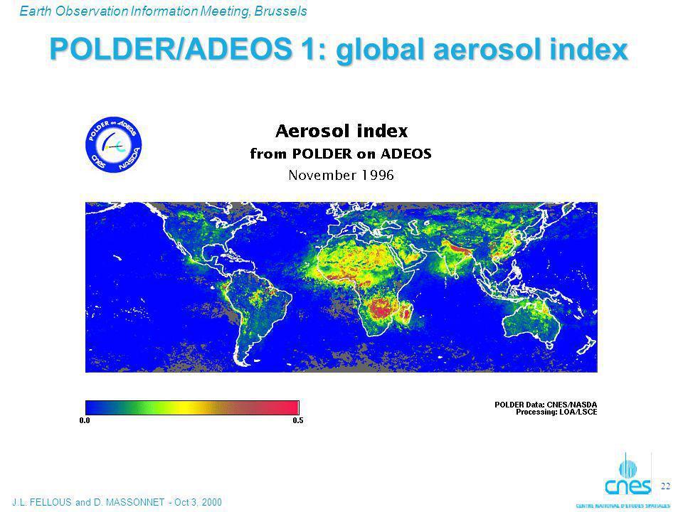J.L. FELLOUS and D. MASSONNET - Oct 3, 2000 Earth Observation Information Meeting, Brussels 22 POLDER/ADEOS 1: global aerosol index