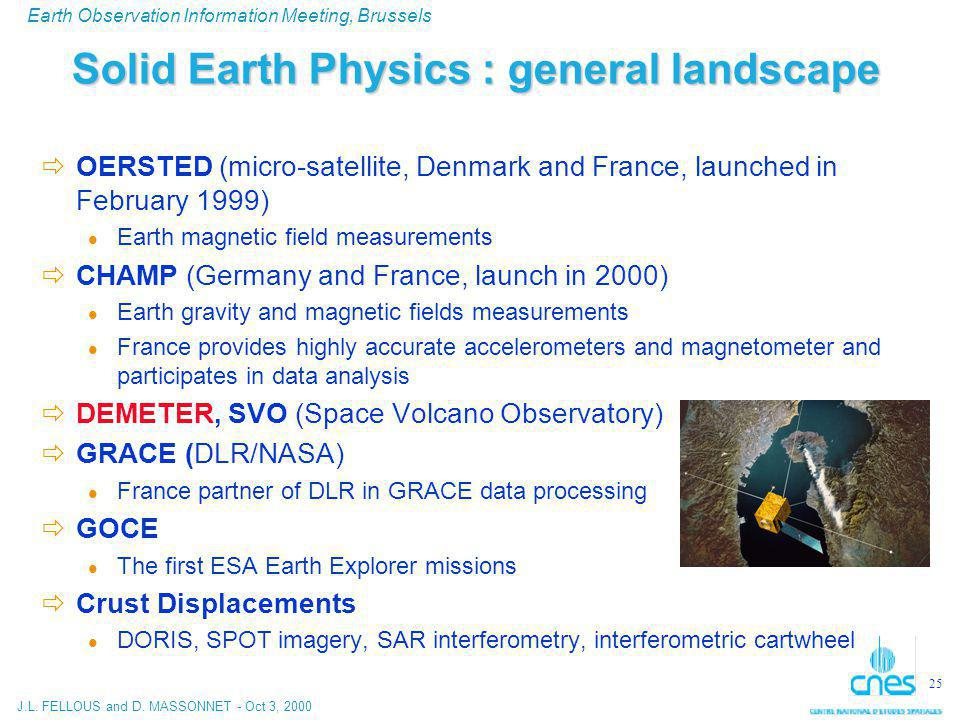 J.L. FELLOUS and D. MASSONNET - Oct 3, 2000 Earth Observation Information Meeting, Brussels 25 Solid Earth Physics : general landscape  OERSTED (micr