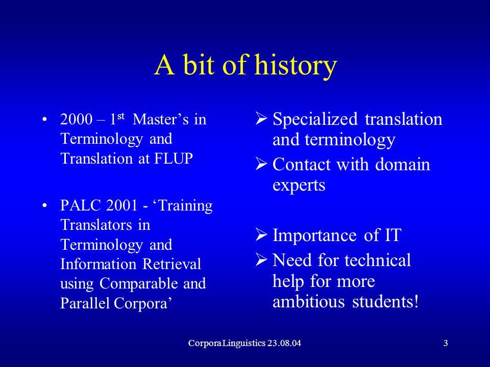 Corpora Linguistics 23.08.0414 Corpora Analysis Terminology Database Internet Text details