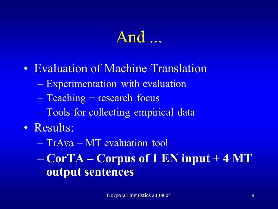 Corpora Linguistics 23.08.049 And...