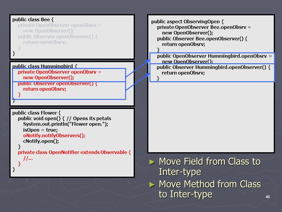 46 public class Flower { public void open() { // Opens its petals System.out.println( Flower open. ); isOpen = true; oNotify.notifyObservers(); cNotify.open(); } private class OpenNotifier extends Observable { //...