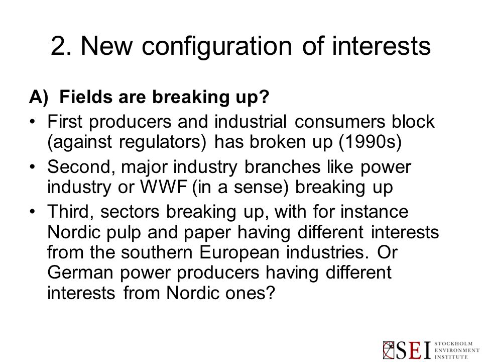 2. New configuration of interests A) Fields are breaking up.