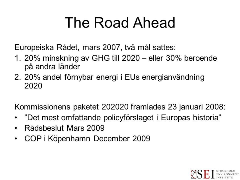 The Road Ahead Europeiska Rådet, mars 2007, två mål sattes: 1.20% minskning av GHG till 2020 – eller 30% beroende på andra länder 2.20% andel förnybar energi i EUs energianvändning 2020 Kommissionens paketet 202020 framlades 23 januari 2008: Det mest omfattande policyförslaget i Europas historia Rådsbeslut Mars 2009 COP i Köpenhamn December 2009