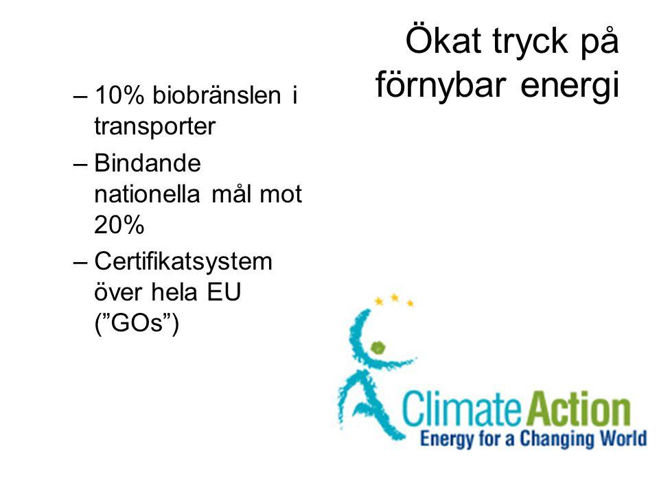 """Ökat tryck på förnybar energi –10% biobränslen i transporter –Bindande nationella mål mot 20% –Certifikatsystem över hela EU (""""GOs"""")"""
