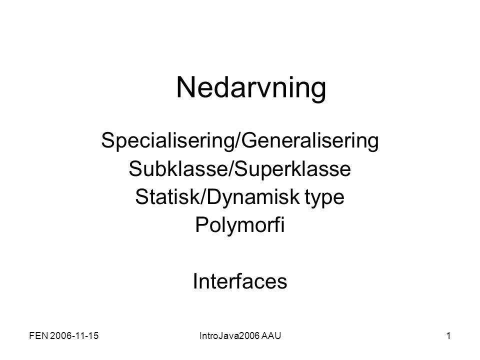 FEN 2006-11-15IntroJava2006 AAU32 Implementering af et interface public abstract class Item implements ItemIF{ //attributter og constructor //evt yderligere metoder} public String getTitle(){…}; public void setComment(String comment){…}; public String getComment(){…}; public void setOwn(boolean ownIt){…}; public boolean getOwn(){…}; public void print(){…}; Metoder defineret i interfacet skal implementeres.