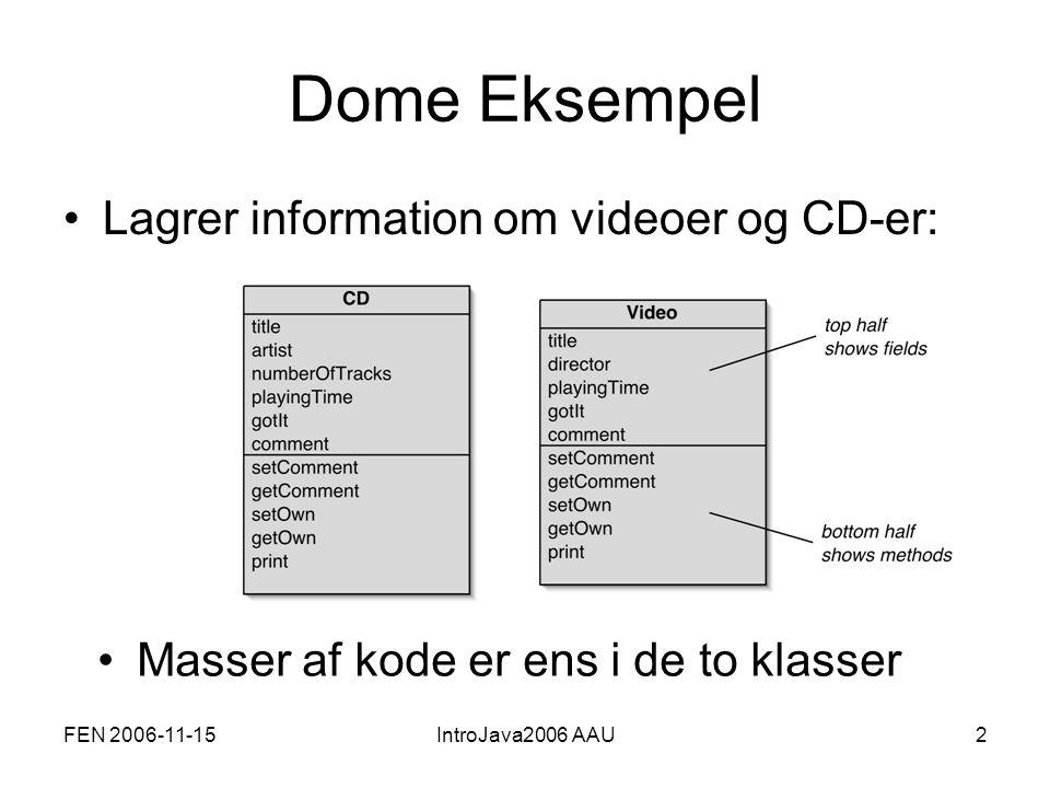 FEN 2006-11-15IntroJava2006 AAU3 Nedarvning Fælles egenskaber (attributter og metoder) defineres på superklassen Item Subklasserne CD og Video arver alle egenskaber fra superklassen Angiver arv