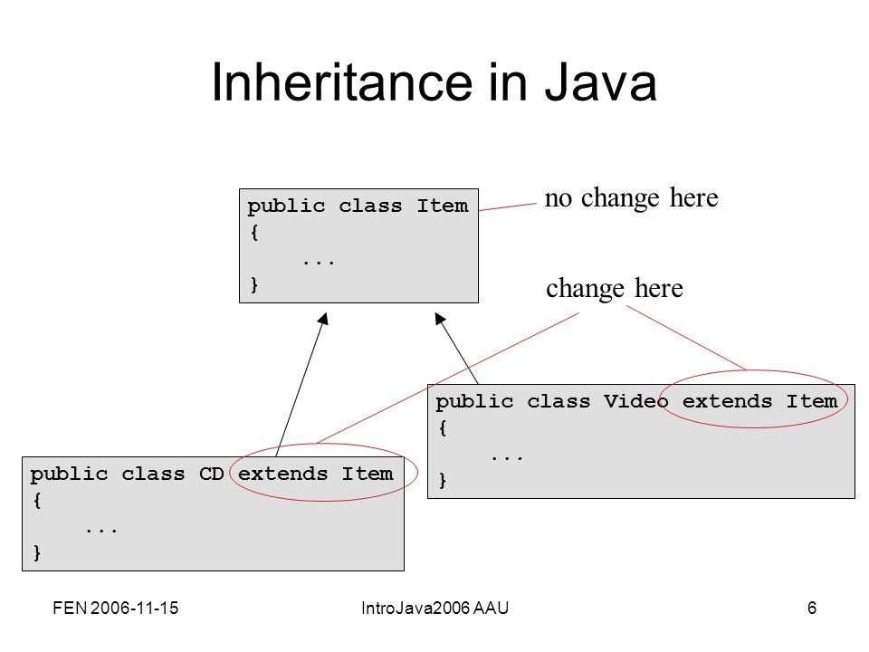 FEN 2006-11-15IntroJava2006 AAU27 Calling an overridden method public class CD extends Item {...