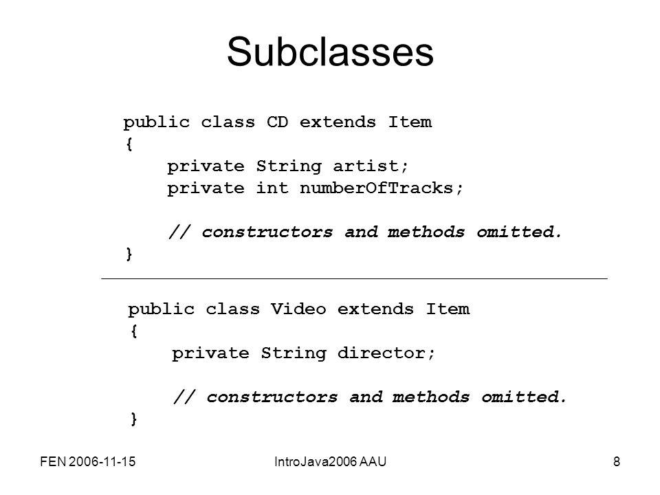 FEN 2006-11-15IntroJava2006 AAU29 Interfaces Et interface er en klasse helt uden implementation, dvs.: –ingen attributter –ingen metodeimplementeringer –kun metodehoveder public interface ItemIF{ public String getTitle(); public void setComment(String comment); public String getComment(); public void setOwn(boolean ownIt); public boolean getOwn(); public void print();}