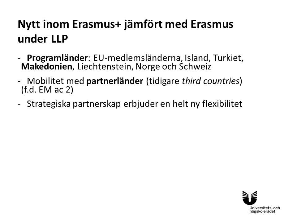 Eng -Programländer: EU-medlemsländerna, Island, Turkiet, Makedonien, Liechtenstein, Norge och Schweiz -Mobilitet med partnerländer (tidigare third countries) (f.d.