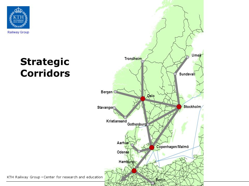 Railway Group KTH Railway Group Center for research and education in Railway technology - Railway development in Sweden 10 Trondheim Bergen Stavanger Oslo Stockholm Copenhagen/Malmö Hamburg Berlin Strategic Corridors Gothenburg Kristiansand Umeå Aarhus Odense Sundsvall