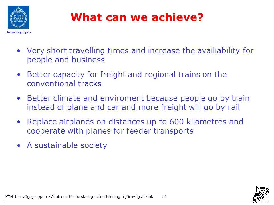 KTH Järnvägsgruppen Centrum för forskning och utbildning i järnvägsteknik 34 What can we achieve.