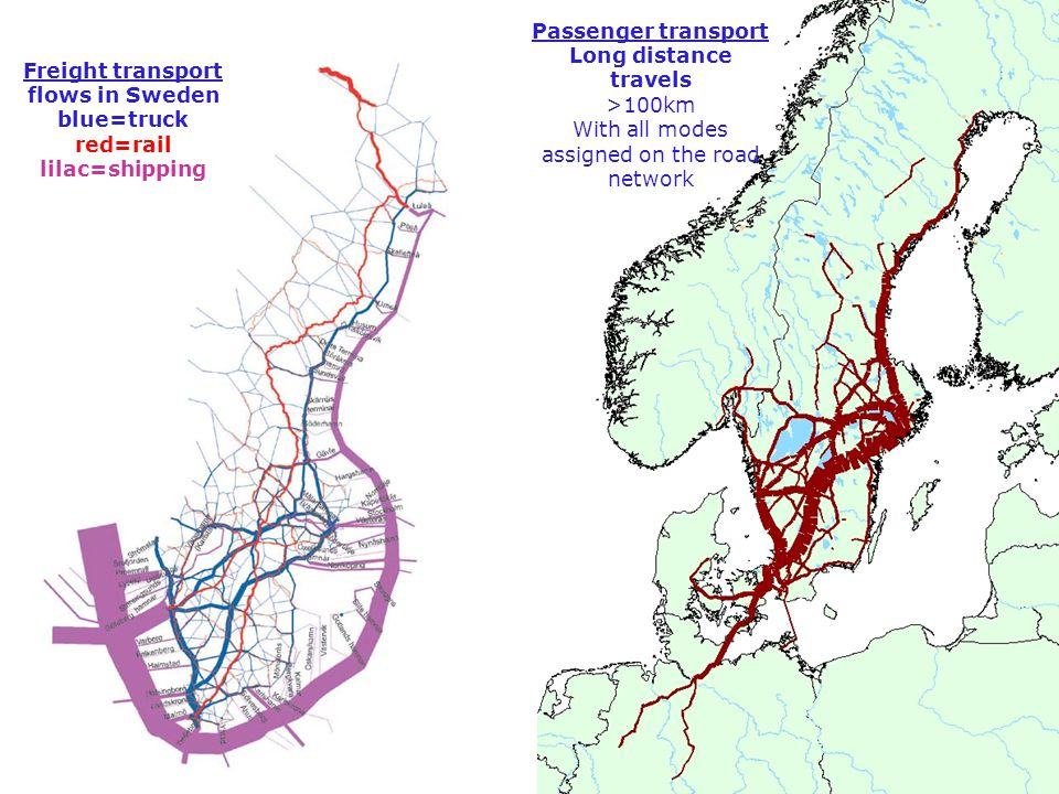 Freight transport flows in Sweden blue=truck red=rail lilac=shipping Passenger transport Long distance travels >100km With all modes assigned on the road network