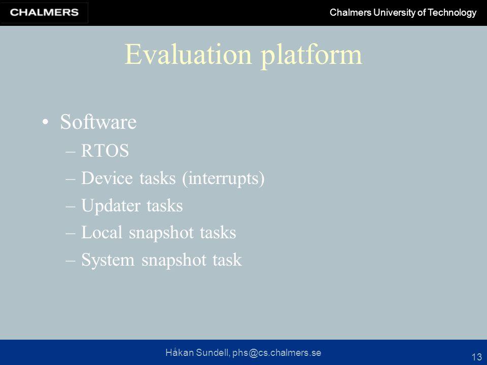 Håkan Sundell, phs@cs.chalmers.se Chalmers University of Technology 13 Evaluation platform Software –RTOS –Device tasks (interrupts) –Updater tasks –Local snapshot tasks –System snapshot task