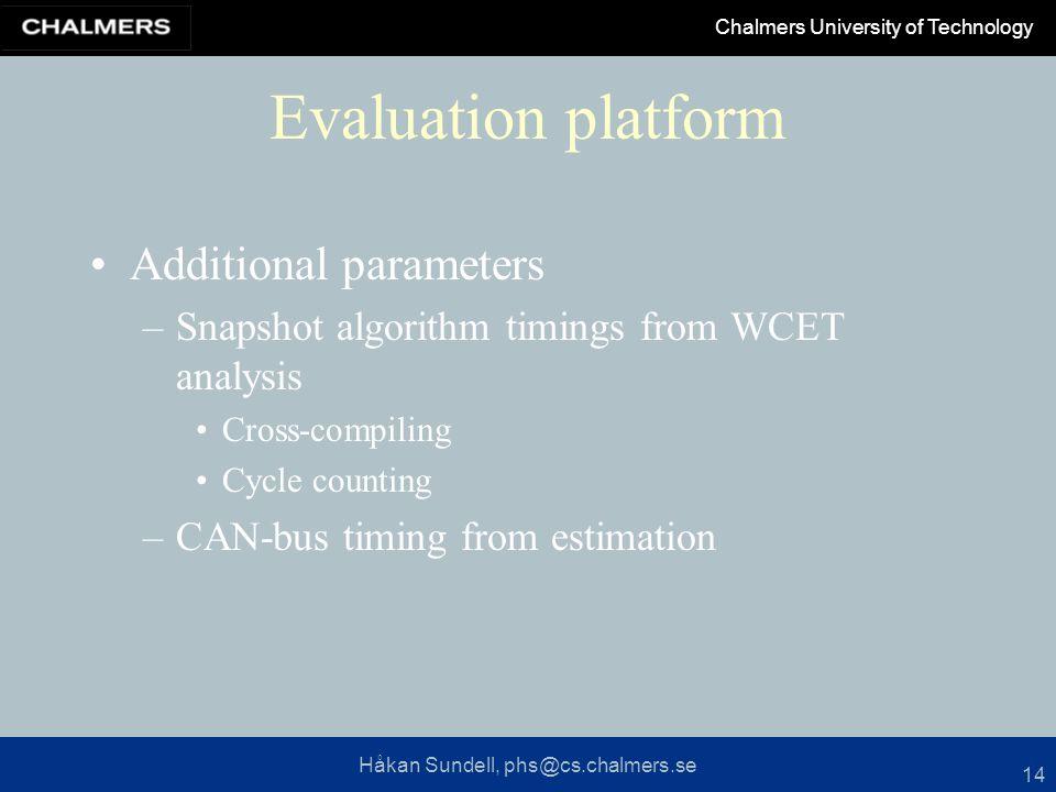 Håkan Sundell, phs@cs.chalmers.se Chalmers University of Technology 14 Evaluation platform Additional parameters –Snapshot algorithm timings from WCET