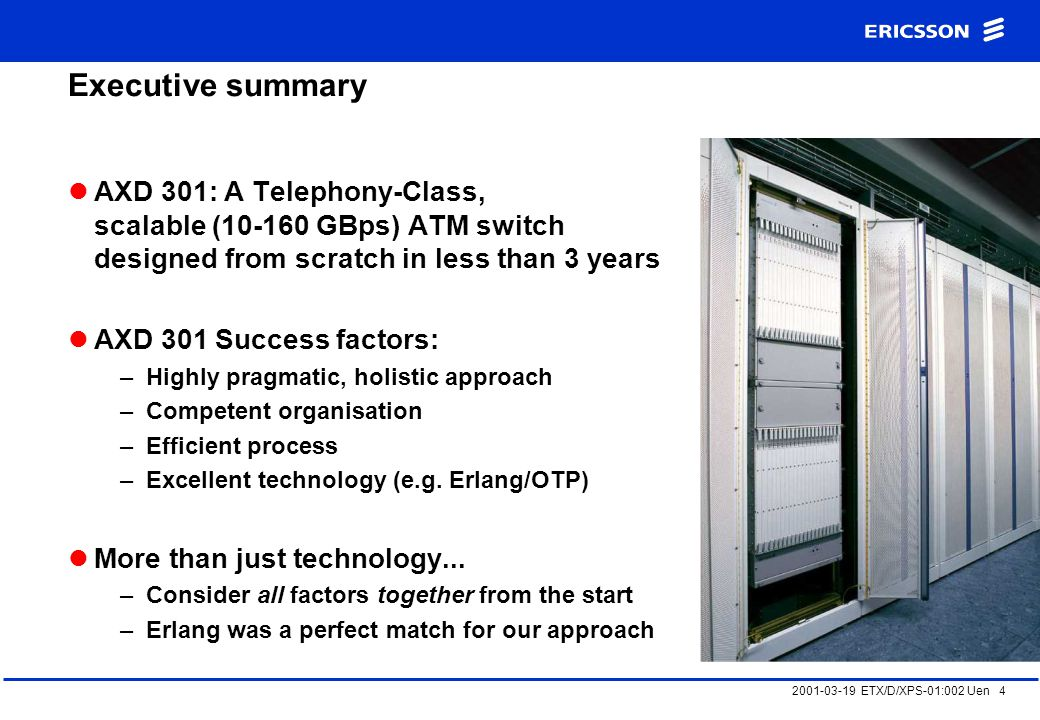 2001-03-19 ETX/D/XPS-01:002 Uen 4 Executive summary AXD 301: A Telephony-Class, scalable (10-160 GBps) ATM switch designed from scratch in less than 3 years AXD 301 Success factors: –Highly pragmatic, holistic approach –Competent organisation –Efficient process –Excellent technology (e.g.