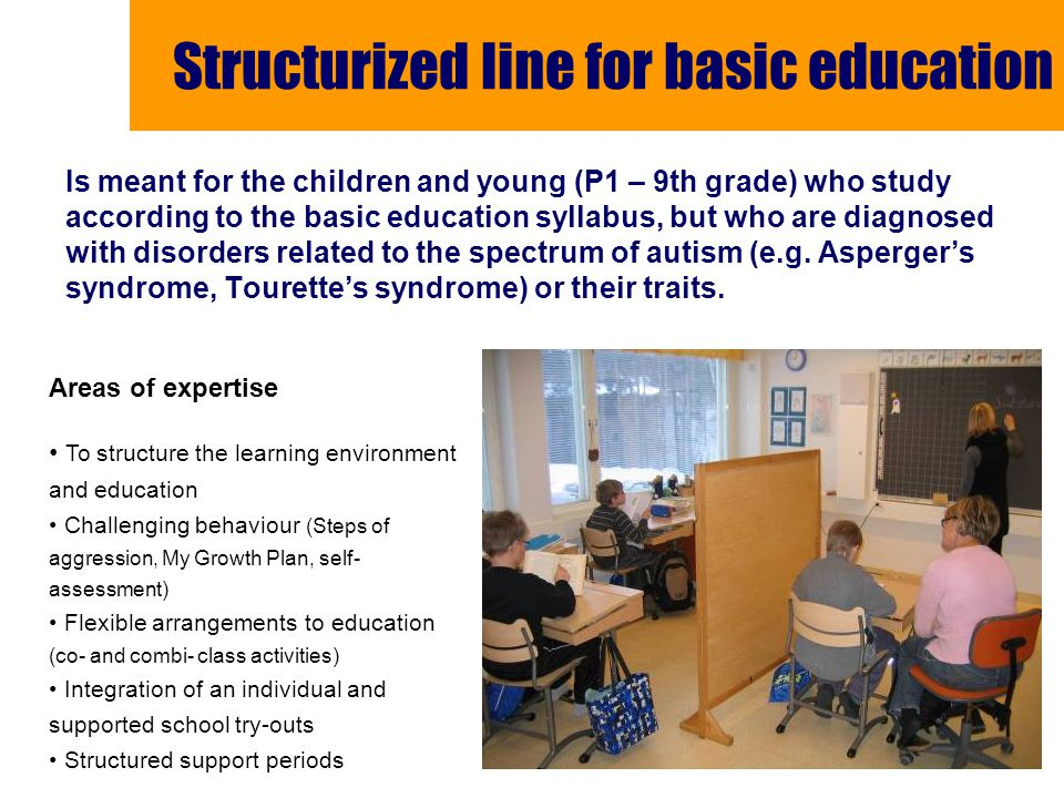 Structurized line for basic education Is meant for the children and young (P1 – 9th grade) who study according to the basic education syllabus, but who are diagnosed with disorders related to the spectrum of autism (e.g.