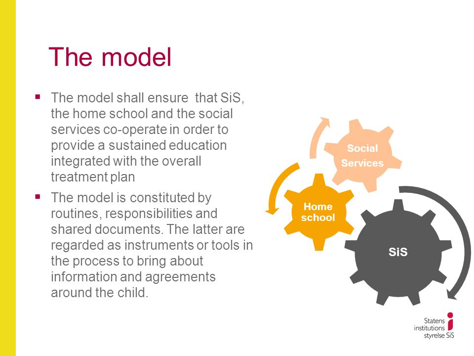 The model  The model shall ensure that SiS, the home school and the social services co-operate in order to provide a sustained education integrated with the overall treatment plan  The model is constituted by routines, responsibilities and shared documents.