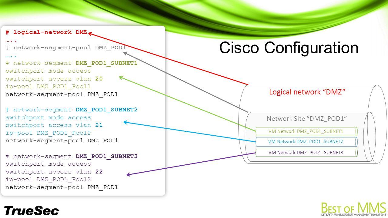 Cisco Configuration # logical-network DMZ ….. # network-segment-pool DMZ_POD1 …..