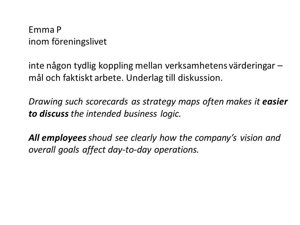 Emma P inom föreningslivet inte någon tydlig koppling mellan verksamhetens värderingar – mål och faktiskt arbete. Underlag till diskussion. Drawing su